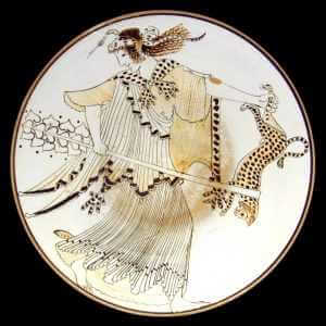 Maenad with a thyrsus and leopard skin (symbols of Dionysus) on a white-ground kylix by the Brygos Painter, ca. 480 B.C. Staatliche Antikensammlungen, Munich