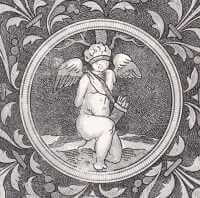 Woodcut of a blindfolded Cupid