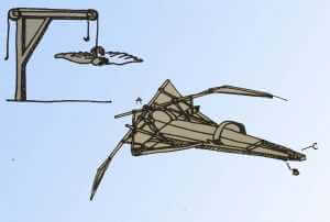 Copies of Leonardo da Vinci's flying machine sketches by Gloria Wilder