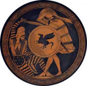 Greek hoplite warrior fights a Persian (viewer's left) during the Persian Wars on a Red-Figure kylix, ca. 5th century B.C., National Archaeological Museum of Athens