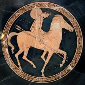 Dejected Greek warrior on a horse; Red-figure cup, mid 5th-century B.C. Penthesilea Painter