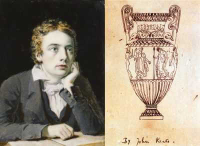 Poet John Keats beside his drawing of a Greek Vase