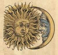 Woodcut of sun and moon faces from the Nuremberg Chronicles