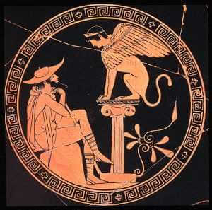 Oedipus questioned by the Sphinx, Red-figure kylix,m ca. 470 B.C. Museo Gregoriano Etrusco, Rome