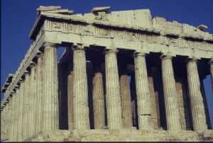 Front-side view of the Parthenon, Athens, Greece, photo by Gloria Wilder