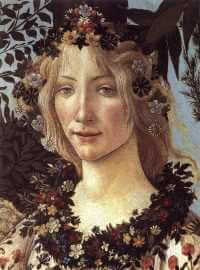 Detail of Flora from Primavera by Botticelli, ca. 1486, Uffizi, Florence