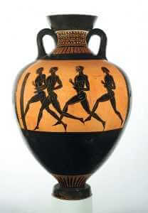 Foot Race on Panathenaic prize Amphora by the Berlin Painter, ca. 480 B.C.