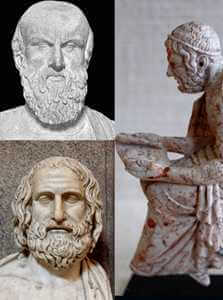 Aeschylus top left, Euripides bottom left – Marble bust, Roman copy after a Greek original, ca. 330 BC.; Sophocles right