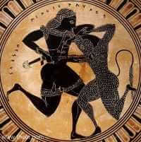 Theseus fights the Minotaur, Black-figure Attic bowl, ca. 550 B.C., Toledo Museum of Art