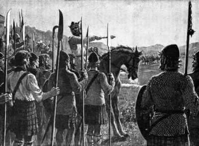 Robert the Bruce reviewing troops before the Battle of Bannockburn, woodcut by Edmund Blair Leighton
