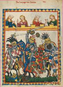 Soldiers fighting in chainmail, Manesse Codex.