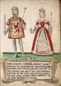 King Malcolm III and his wife Saint Margaret, granddaughter of Edmund Ironsides, Saxon King of England, 1562