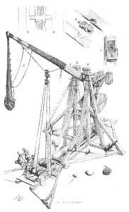 19th-century sketch of a medieval trebuchet