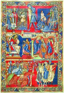 Scenes from The Life of David, rejected leaf of the Winchester Bible, 1150-1160, 12th century, Pierpont Morgan Library