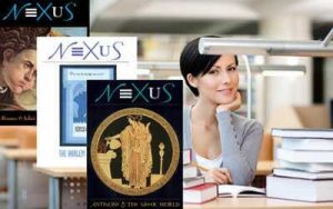 Young woman at a desk with NEXUS covers